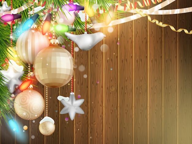 Illustrazione di vacanze con decorazioni di natale.