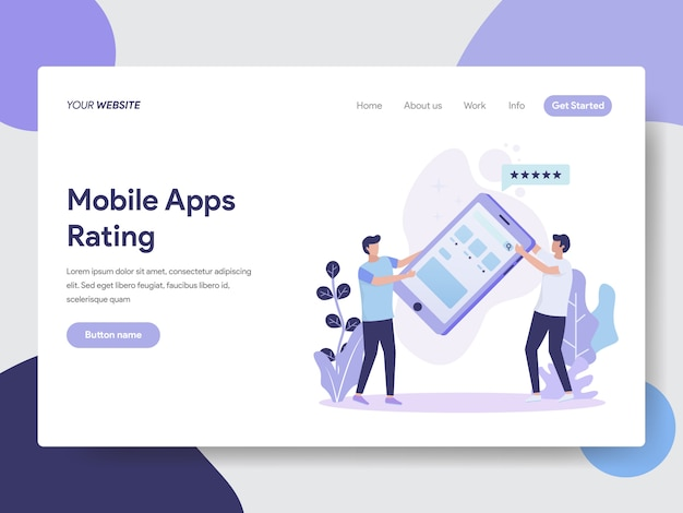 Illustrazione di valutazione delle app per dispositivi mobili per le pagine web