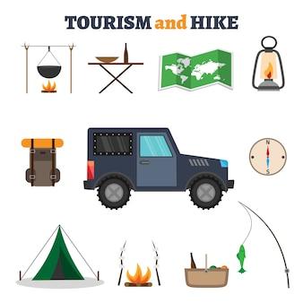 Illustrazione di vari oggetti del campeggio