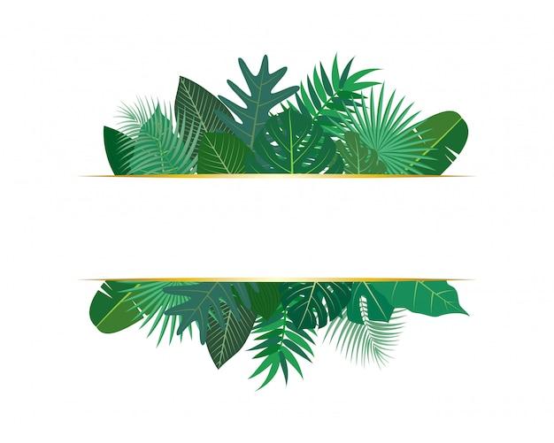 Illustrazione di varie foglie tropicali esotici con banner