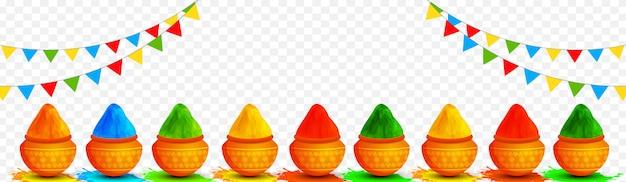 Illustrazione di vasi di terracotta pieni di colori decorati su transpa