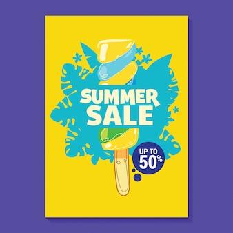 Illustrazione di vendita di estate con sfondo di ghiaccioli, spiaggia e foglie tropicali
