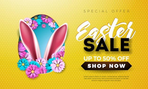 Illustrazione di vendita di pasqua con orecchie di coniglio e fiori