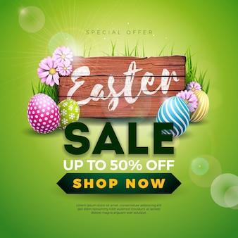 Illustrazione di vendita di pasqua con uova dipinte e fiori