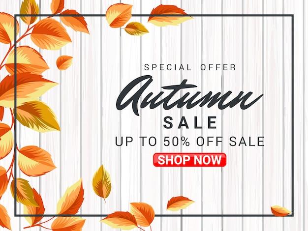 Illustrazione di vendita poster autunno con superficie in legno