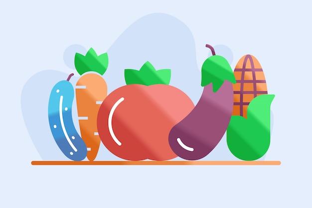 Illustrazione di verdure ed erbe