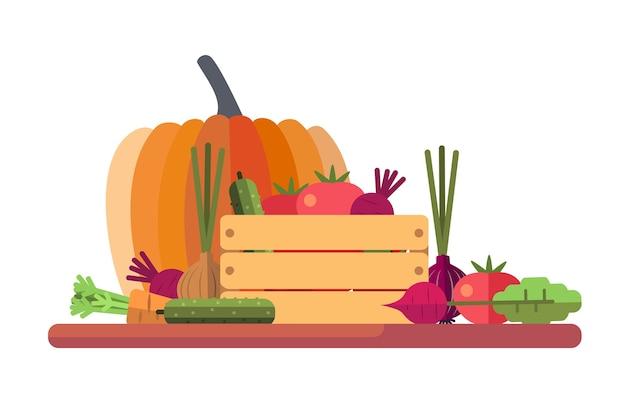 Illustrazione di verdure fresche di stagione