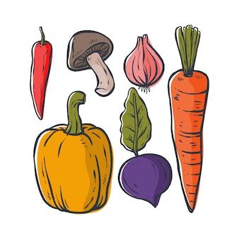 Illustrazione di verdure, tecnica disegnata a mano