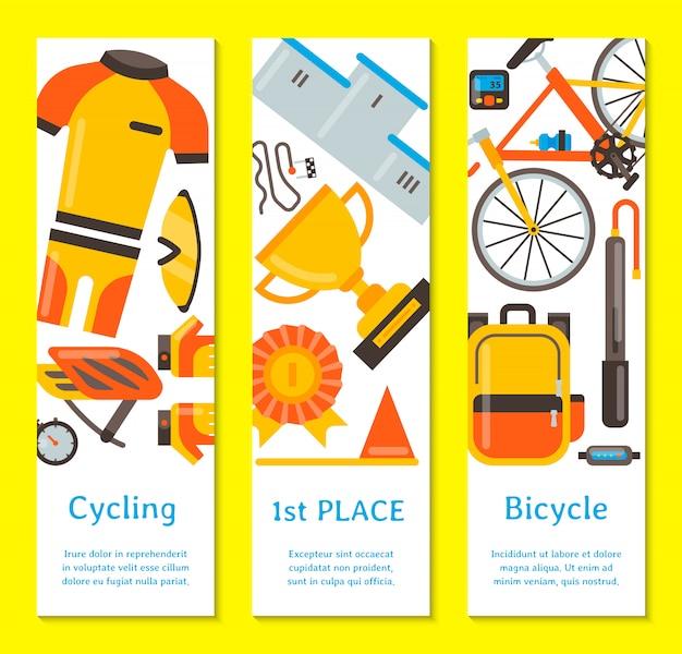 Illustrazione di vettore degli accessori di sport e dell'uniforme della bicicletta. attività in bicicletta, attrezzatura da ciclismo e accessori sportivi. modello di volantino