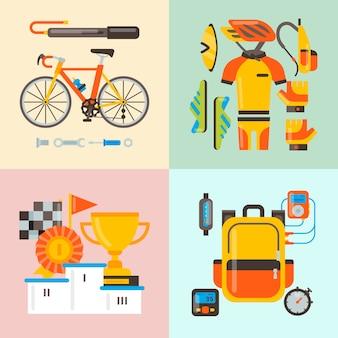 Illustrazione di vettore degli accessori di sport e dell'uniforme della bicicletta. attività in bicicletta, attrezzatura da ciclismo e accessori sportivi.