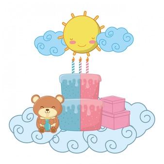 Illustrazione di vettore degli elementi della festa di compleanno del bambino