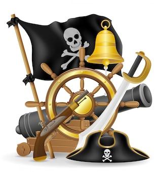 Illustrazione di vettore degli elementi di concetto del pirata