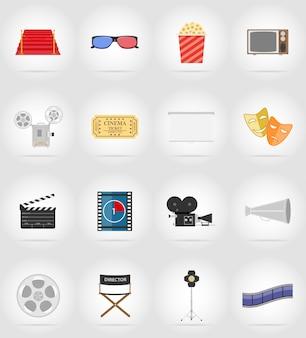 Illustrazione di vettore degli elementi piani del cinema