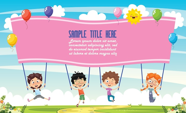 Illustrazione di vettore dei bambini che tengono cartello