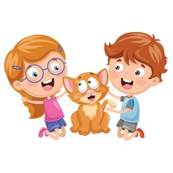 Illustrazione di vettore dei bambini del fumetto con il gatto