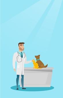Illustrazione di vettore dei cani d'esame veterinario.