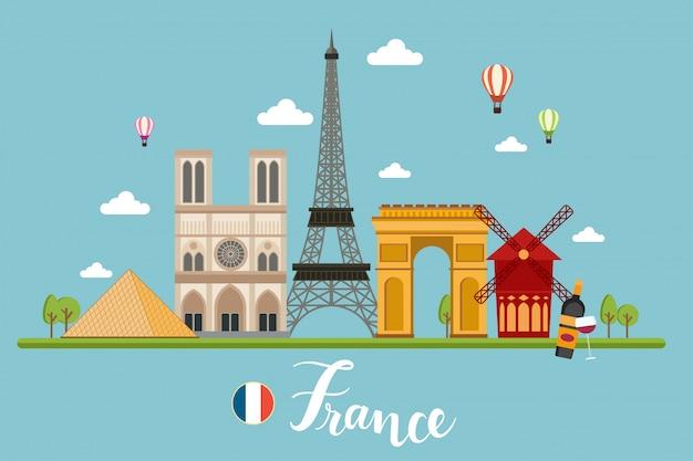 Illustrazione di vettore dei paesaggi di viaggio della francia