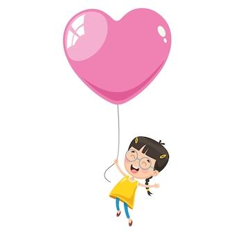 Illustrazione di vettore del bambino che vola con il pallone