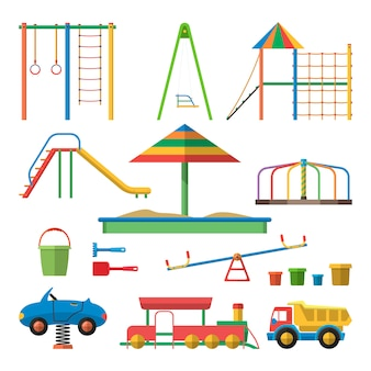 Illustrazione di vettore del campo da giuoco dei bambini con gli oggetti isolati. elementi di design per bambini in stile piatto.