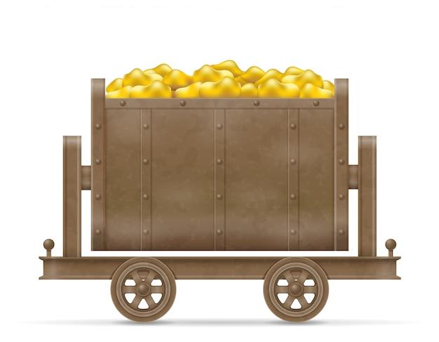 Illustrazione di vettore del carrello del carrello di estrazione mineraria