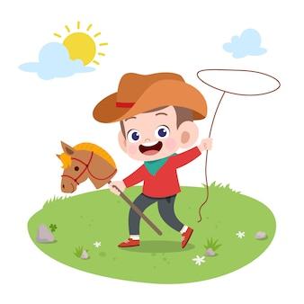 Illustrazione di vettore del cavallo da equitazione del bambino isolata