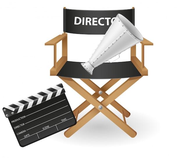 Illustrazione di vettore del cinema e del film di cinematografia del direttore della sedia