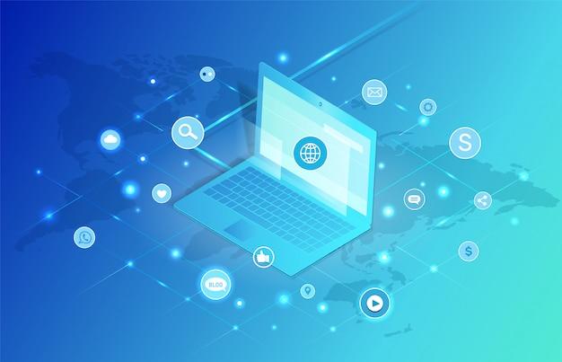 Illustrazione di vettore del computer portatile della rete sociale