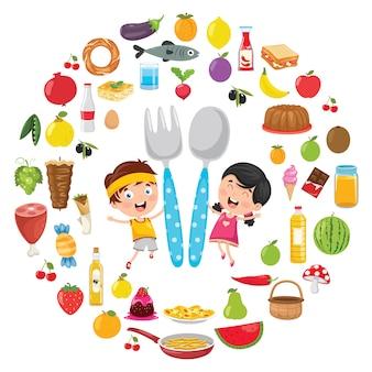 Illustrazione di vettore del concetto dell'alimento dei bambini