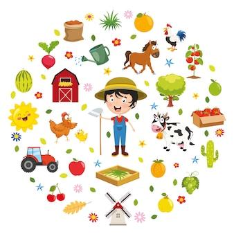 Illustrazione di vettore del concetto dell'azienda agricola dei bambini