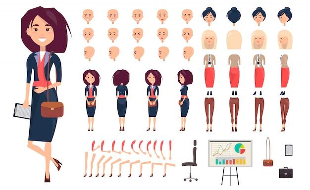 Illustrazione di vettore del costruttore della donna di affari.