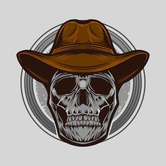 Illustrazione di vettore del cranio del cowboy isolata