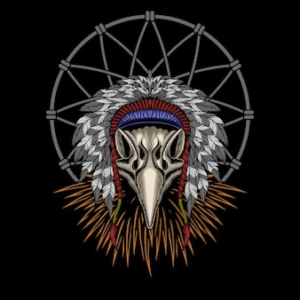 Illustrazione di vettore del cranio indiano dell'aquila