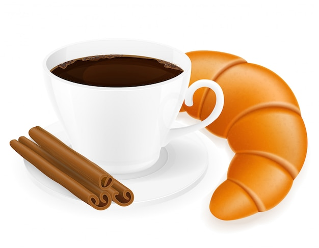 Illustrazione di vettore del croissant e della tazza di caffè