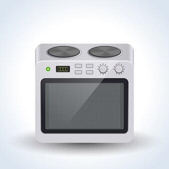 Illustrazione di vettore del forno elettrico domestico realistico