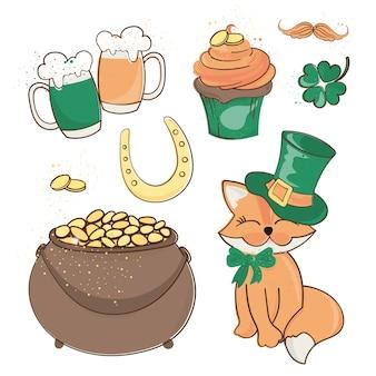 Illustrazione di vettore del fumetto del giorno di san patrizio del tesoro della volpe