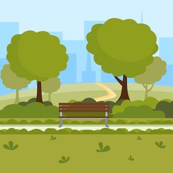 Illustrazione di vettore del fumetto del parco urbano tempo libero all'aria aperta sulla natura luogo pubblico, alberi verdi, panche di legno