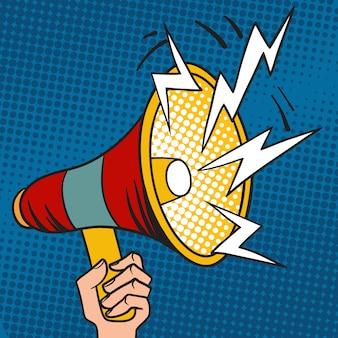 Illustrazione di vettore del fumetto dell'altoparlante di progettazione del megafono di pop art.