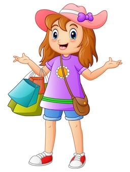 Illustrazione di vettore del fumetto della ragazza di acquisto