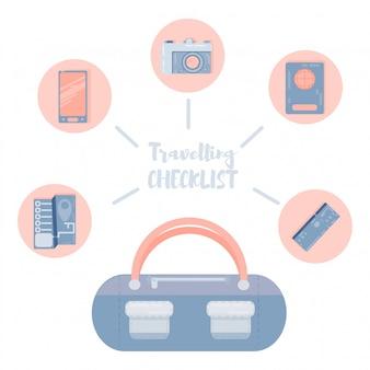 Illustrazione di vettore del fumetto della valigia di viaggio vacanza vacanza, viaggio all'estero disegno piatto.