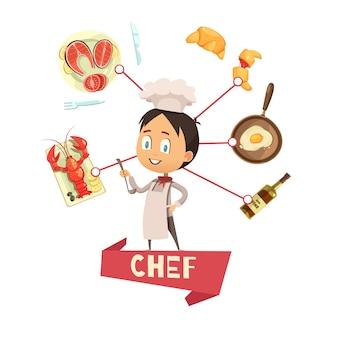 Illustrazione di vettore del fumetto per i bambini con il cuoco unico in grembiule e cappello nelle icone dell'alimento e del centro intorno
