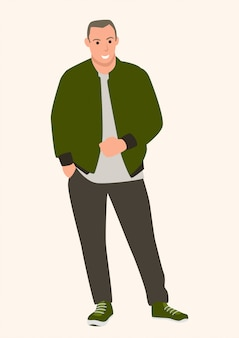 Illustrazione di vettore del fumetto piatto semplice di un giovane uomo che indossa bomber, stile di moda