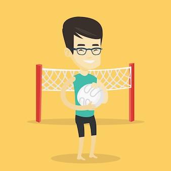 Illustrazione di vettore del giocatore di beach volley.
