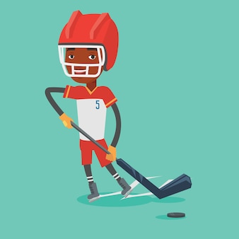 Illustrazione di vettore del giocatore di hockey su ghiaccio.