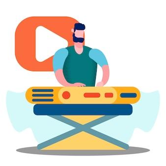 Illustrazione di vettore del giocatore di tastiera professionale