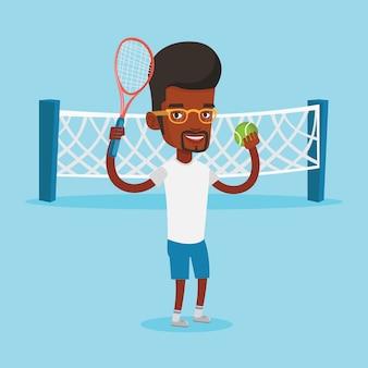 Illustrazione di vettore del giocatore di tennis maschile.