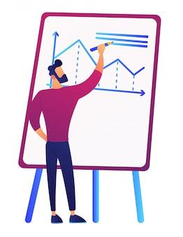Illustrazione di vettore del grafico di crescita del disegno dell'uomo d'affari a bordo.