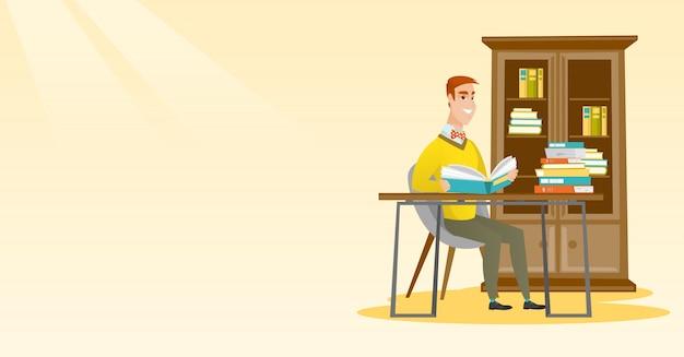 Illustrazione di vettore del libro di lettura dello studente.