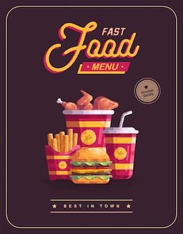 Illustrazione di vettore del manifesto del menu degli alimenti a rapida preparazione