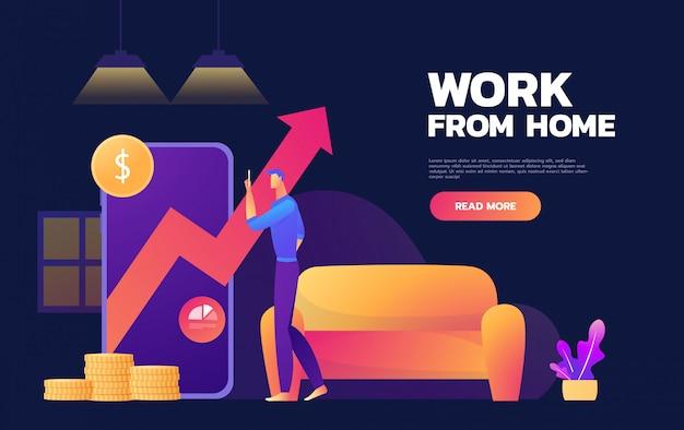 Illustrazione di vettore del mercato di show increase dell'uomo d'affari. concetto di business. lavoro da casa