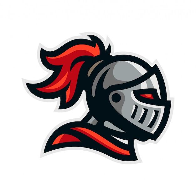 Illustrazione di vettore del modello della mascotte di logo del guerriero del cavaliere
